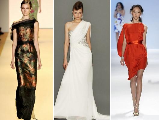 фасоны вечерних платьев с ассиметричным рукавом.